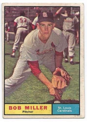1961 Topps #314 Bob Miller Cardinals Baseball Card
