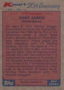 Hank Aaron 1982 Topps K-Mart Baseball Card #43 (1974 Highlights)