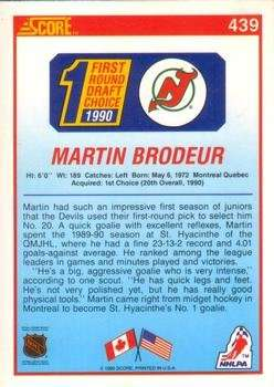 Martin Brodeur 1990-91 Score Rookie Card #439