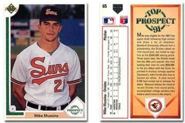 1991 Upper Deck Mike Mussina Rookie Baseball Card 65