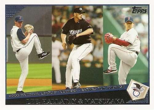 2009 Topps #221 Cliff Lee / Roy Halladay / Daisuke Matsuzaka LL - Cleveland Indians / Toronto Blue Jays / Boston Red Sox (League Leaders) (Baseball Ca