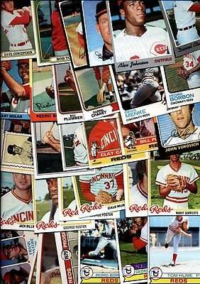 40 Different Vintage Cincinnati Reds Topps Baseball Cards from 1970-1979 - Shipped in Protective Display Album!