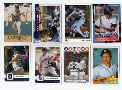 Lot of 100 Different Detroit Tigers Baseball Cards