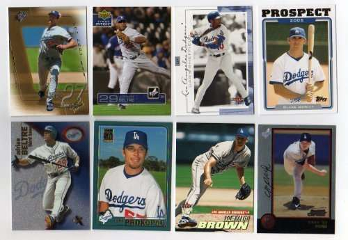 Lot of 100 Different Los Angeles Dodgers Baseball Cards