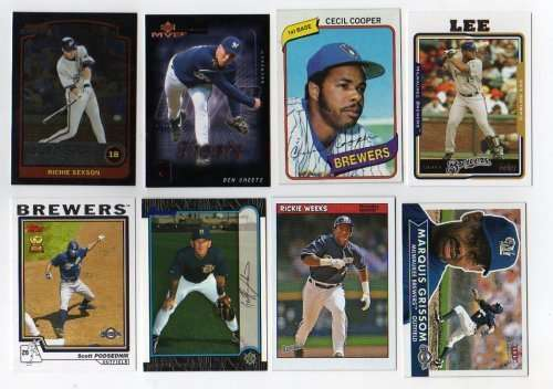 Lot of 100 Different Milwaukee Brewers Baseball Cards