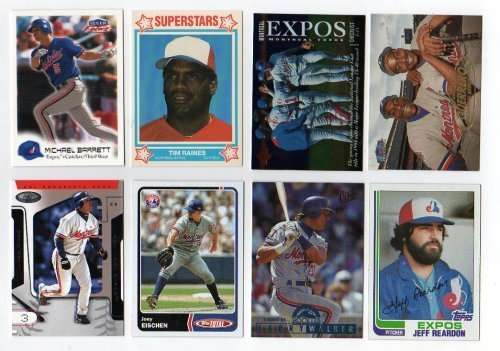 Lot of 100 Different Montreal Expos Baseball Cards