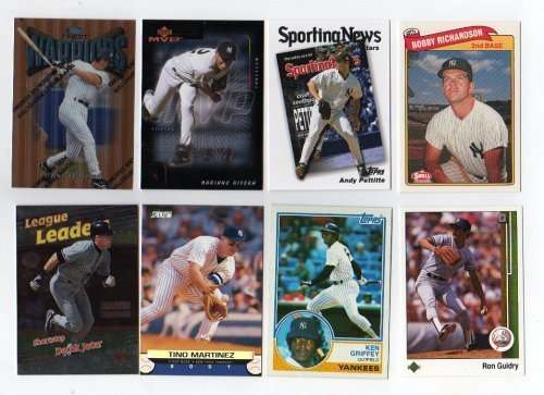 Lot of 100 Different New York Yankees Baseball Cards