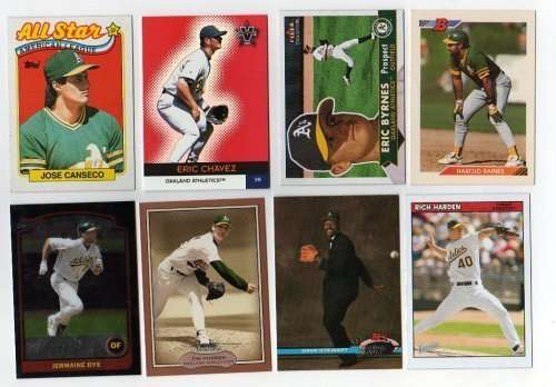 Lot of 100 Different Oakland Athletics A's Baseball Cards