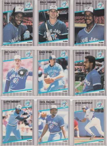 Toronto Blue Jays 1989 Fleer Baseball Card Team Set