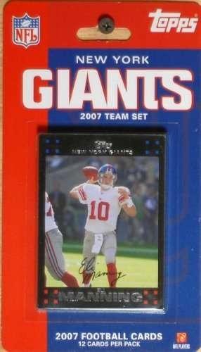 2007 Super Bowl Champion New York Giants Topps 12 Card Licensed Factory Sealed Team Set