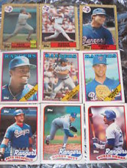 40 Different Texas Rangers Baseball Cards from 1980-1989 - Shipped in Protective Display Album!