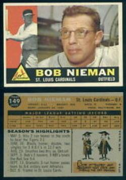 1960 Topps #149 Bob Nieman EX Excellent Cardinals