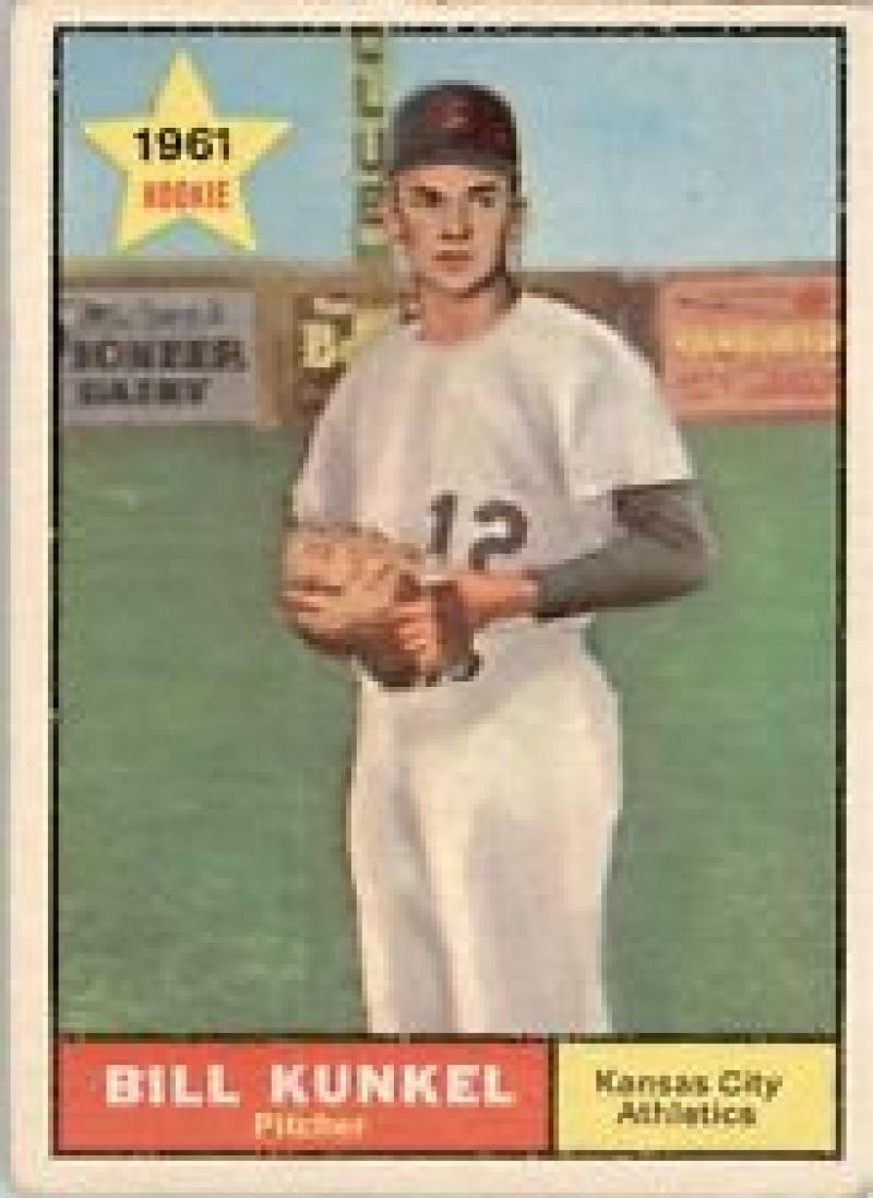 1961 Topps #322 Bill Kunkel Rookie Card / Very Good
