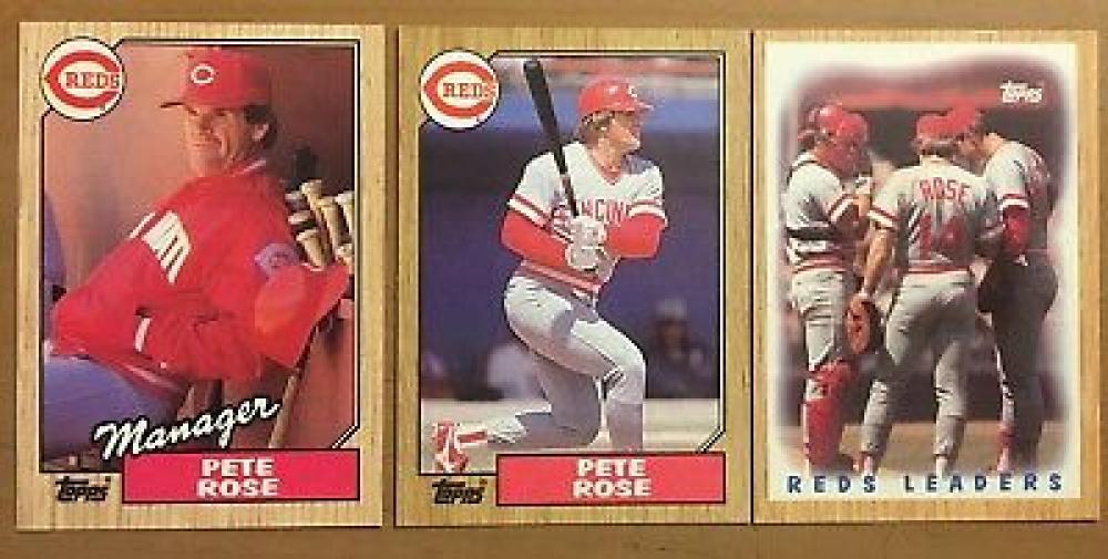 Pete Rose 1987 Topps 3 Card Set