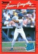 1990 Donruss Juan Gonzalez Rookie Baseball Card #33 - Shipped In Protective Display Case!
