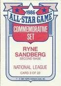 Ryne Sandberg 1987 Topps Glossy Commemorative All-Stars Baseball Card #3