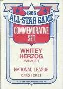 Whitey Herzog 1987 Topps Glossy Commemorative All-Stars Baseball Card #1
