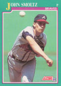 John Smoltz 1991 Score Baseball Card #208