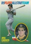 1989 Fleer All Stars #2 Jose Canseco Athletics
