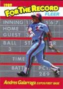 1989 Fleer For The Record #3 Andres Galarraga Expos