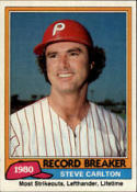 1981 Topps #202 Steve Carlton RB Philadelphia Phillie Baseball Card