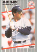 1989 Fleer #252 Jack Clark New York Yankees Baseball Card