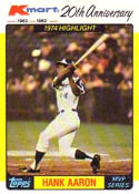 Hank Aaron 1982 Topps K-Mart Baseball Card #43 (1974 Highlights)