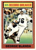 1976 Topps #1 George Blanda Oakland Raiders Football Card - Shipped In A Protective Screwdown Display Case!